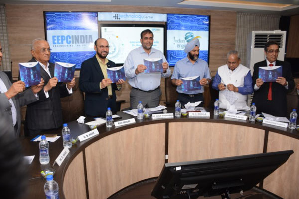 EEPC India Hand Book on Technology Centre launched by Dr Anup Wadhawan, Commerce Secretary, MOC&I, GOI (4th from right); Mr B S Bhalla, Additional Secretary, DOC, MOC&I, GOI (is to his left); Mr Ravi Sehgal, Chairman, EEPC India (is to his right). Mr. G D Shah, Past Chairman, EEPC India (to the right of Mr Sehgal); Mr M C Shah, Past Chairman, EEPC India (far left). Mr Mahesh K Desai, Sr Vice Chairman, EEPC India (2nd from right); Mr Arun Kumar Garodia, Vice Chairman, EEPC India (to the left of Mr Desai).