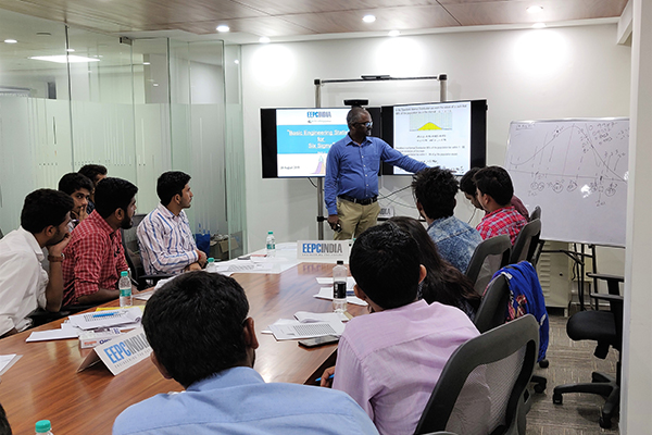 "Mr. D. Karthikeyan, Assistant Head, EEPC India Technology Centre, Bengaluru delivering presentation at the session on ""Basic Engineering Statistics for Six Sigma Projects"" - Batch2."