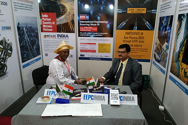 Mr. S. Nair, Dy. Director, SRO Ahmedabad, EEPC India is meeting with a foreign visitor at EEPC India Booth.