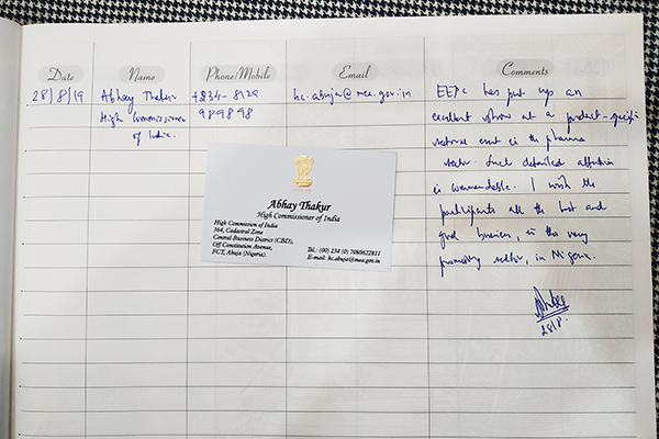 Note of Mr Abhay Thakur,  High Commissioner of India, Lagos, Nigeria in EEPC Book at the exhibition.