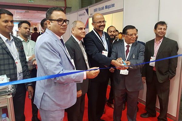 Inauguration of India Pavilion by Mr. R Balakrishnan, Second Secretary (Com.), Indian Embassy in Kazakhstan. Mr. Rakesh Suraj, Regional Director (NR), EEPC India is also seen.