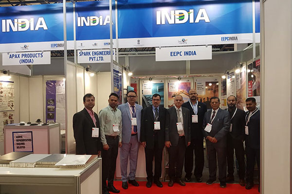 Mr. R Balakrishnan, Second Secretary (Com.), Indian Embassy in Kazakhstan (4th from right) and Mr. Rakesh Suraj, Regional Director (NR), EEPC India (3rd from left) are in a photoshoot in front of EEPC India booth along with other delegates and Indian exhibitors.