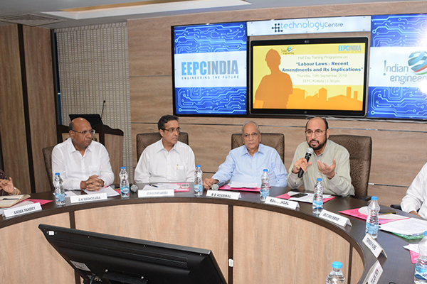 Mr Ravi Sehgal, Chairman, EEPC India addressing the participants. On his right Mr BD Agarwal, Regional Chairman (ER), EEPC India Mr Arun Kumar Garodia, Vice Chairman, EEPC India; Mr G K Madhogaria, Dy. Regional Chairman (ER), EEPC India; Mrs Anima Pandey, Regional Director (ER) & Director (Membership), EEPC India and on his left Mr Abhijit Ghosh Chowdhury, Consultant Advocate and Managing Director, Apropos Consultant & Service Pvt. Ltd.