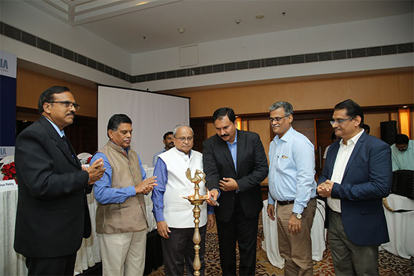 Lighting of the Lamp by the Dignitaries – Mr. Mahesh K Desai, Sr. Vice Chairman, EEPC India (centre). Standing beside him (left) – Mr A Rama Mohan Reddy, IFS, Development Commissioner, Visakhapatnam SEZ; Mr. P K Rath, Chairman and MD, Rashtriya Ispat Nigam Ltd (2nd from right); Mr C H Nadiger, Regional Director, EEPC India (RO), Chennai (right), and Mr K S Mani, Regional Chairman, EEPC India (SR) (2nd from left) and Mr Raja Sekhar B, Dy. Convenor, EEPC India, Visakhapatnam Chapter (extreme left).
