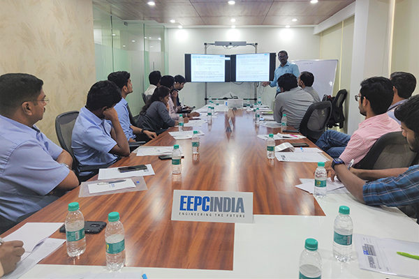 Mr. Karthikeyan D, Assistant Head, EEPC India Technology Centre, Bengaluru delivering the training session on Design for Manufacturing, Assembly and Excellence at Technology Centre, Bengaluru.