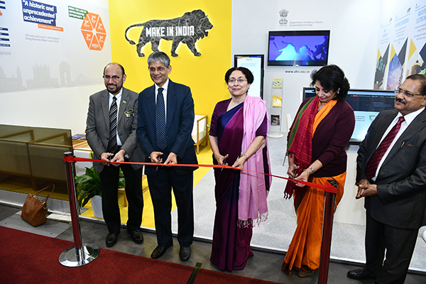 Inauguration of DHI Pavilion by L TO R- Mr Ravi Sehgal, Chairman, EEPC India, Dr A .R. Sihag, Secretary, Department of Heavy Industry, Government of India; H.E. Mrs Narinder Chauhan, Indian Ambassador to the Czech Republic; Ms Sukriti Likhi, Joint Secretary, Department of Heavy Industry, Government of India