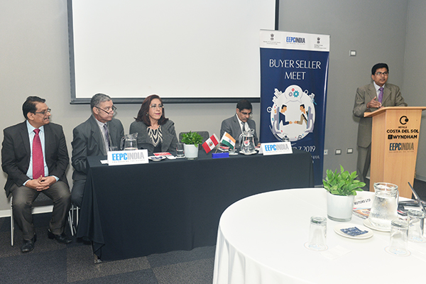 H.E Mr M Subbarayadu, Ambassador of India, Peru (at the podium) speaking at the inauguration of BSM Lima, Peru. Functionaries on the dais are : Mr Sanjeev Tandon, Commercial Counsellor, Embassy of India , Peru (right); Next to him are Office Bearers of Incham ( India Peru Business Chamber) and Mr C H Nadiger, Regional Director (SR), EEPC India (far left)