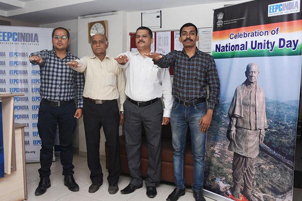 The employees of EEPC India (SRO), Ahmedabad are taking pledge at the inside of the office on the occasion of Rashtriya Ekta Diwas