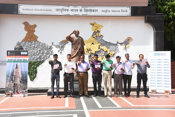The employees of EEPC India (SRO), Ahmedabad are taking pledge with some Government officials at Sardar Patel Museum on the occasion of Rashtriya Ekta Diwas