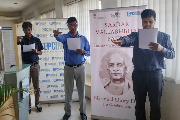 The employees of EEPC India (SRO), Hyderabad are united at their office premises in Pledge Taking Ceremony on the occasion of Rashtriya Ekta Diwas Celebration to commemorate the birth anniversary of Sardar Vallabhbhai Patel.