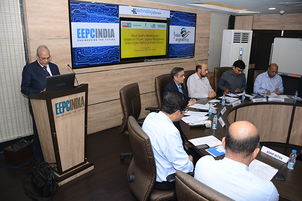 Mr B D Agarwal, Regional Chairman (ER), EEPC India delivering the welcome address. On the dais (R-L) Mr G K Madhogaria, Dy Regional Chairman (ER), EEPC India; Mr Anand Mishra, Dy DGFT, Kolkata; Mr Ravi Sehgal, Chairman, EEPC India; Mr Arun Kumar Garodia, Vice Chairman, EEPC India; Dr Deepankar Sinha, Professor- Trade Operations and Logistics. IIFT Kolkata & Mr Adhip Mitra, AED & Secretary, EEPC  India are seen.