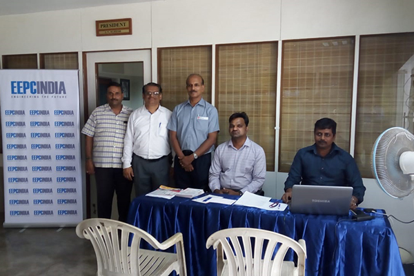 EEPC India (RO) Chennai led by Mr C H Nadiger, Regional Director, started the MSME Membership drive week at Ambattur Industrial Estate in Chennai. Mr  N. Gireeshan, WC Member, EEPC India (SR) is seen.