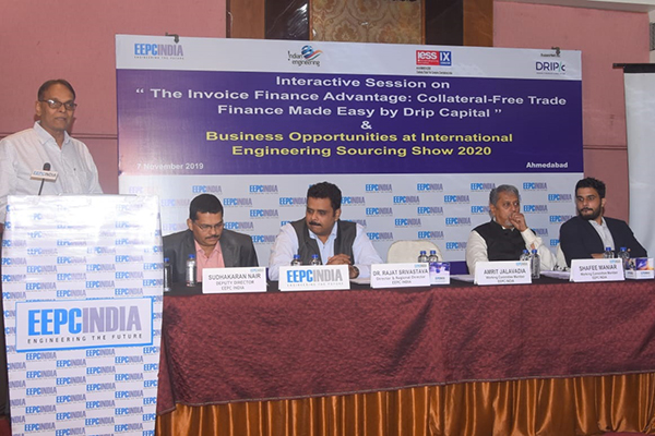 Mr Amrut Jalavadia, WC Member, EEPC India (WR) welcomed the Participants.  Mr Shafee Maniar, WC Member, EEPC India (WR) given Special Address. Mr Ishan Dadhich, Regional Sales Leads, Drip Capital made the presentation. Dr Arvind Patel, Business Entrepreneur made an Experience Speech on  Business is a game - Play with Principals. Dr Rajat Srivastava, Regional Director (WR) & Director (Marketing & Sales), EEPC India made a presentation on IESS 2020. Mr. S. Nair, Dy. Director (EEPC India (WR) given the Vote of thanks.