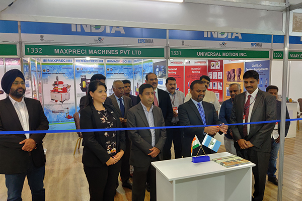 H.E Mr  B S Mubarak, Ambassador of India to Guatemala, Honduras & ElSalvador inaugurating the EEPC booth at the India Pavilion and Mr J V Raja Gopal Rao, Sr Deputy Director, EEPC India ( seen far right)