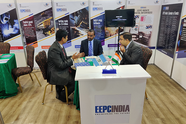 H. E Mr. B S Mubarak, Ambassador of India to Guatemala, Honduras & ElSalvador  with visitors at EEPC India booth