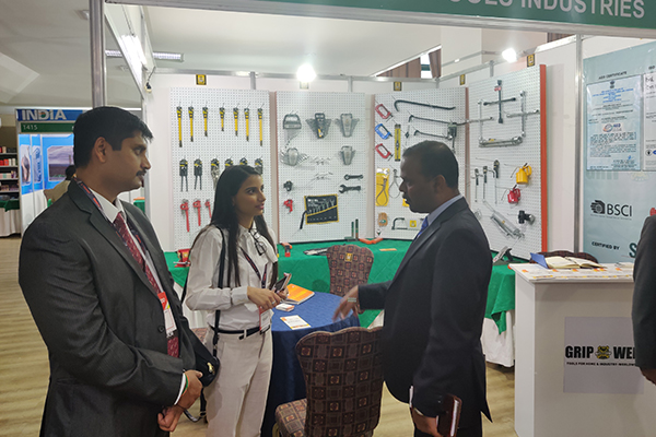 The Indian Ambassador visiting the Indian participants at the India Pavilion.