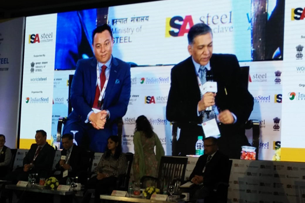 EPC India Dy Regional Chairman (NR) Mr Pradeep Kr Aggarwal (right on the Screen) is addressing one of the plenary sessions at Steel Conclave organised by Indian Steel Association and supported by the Ministry of Steel.