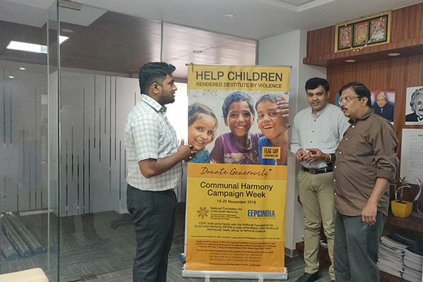 EEPC INDIA  SRO Bangalore office campaigns for Communal Harmony Week and also explaining the ethos behind this to a visitor