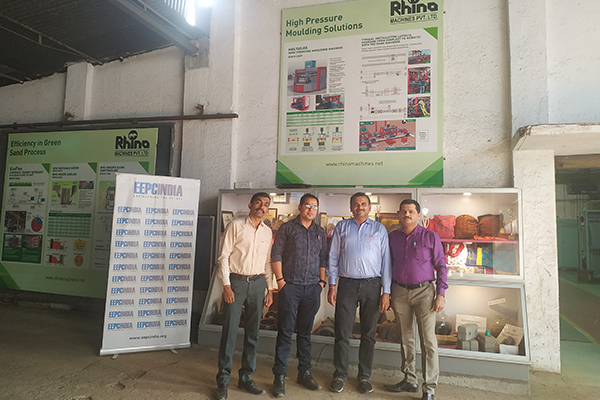 Mr Sudhakaran Nair, Dy. Director, EEPC India, SRO Ahmedabad (right) along with Mr Manish Kothari, MD, Rhino Machines Pvt Ltd (2nd from right).