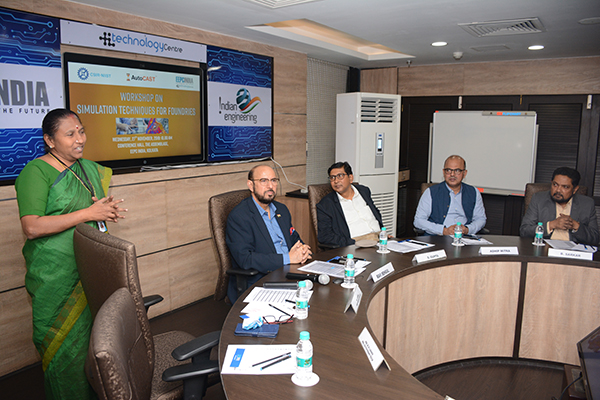 Dr S Savithri, Chief Scientist, CSIR-NIIST is discussing about the benefits of Simulation Software for Foundries in the meeting. Mr Ravi Sehgal, Chairman, EEPC India, Mr Suranjan Gupta, Executive Director, Mr. Adhip Mitra, Addl. Executive Director & Secretary, EEPC India are present. Mr Bhaskar Sarkar, Advisor, EEPC India Technology Centre is also present.