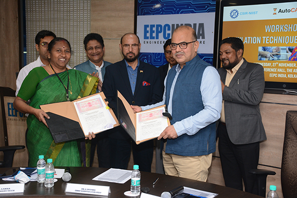 Mr. Adhip Mitra, Addl. Executive Director & Secretary inked MoU on behalf of EEPC India with Dr S Savithri, Chief Scientist, CSIR-NIIST today on future collaboration between EEPC India Technology Centre and  CSIR-NIIST