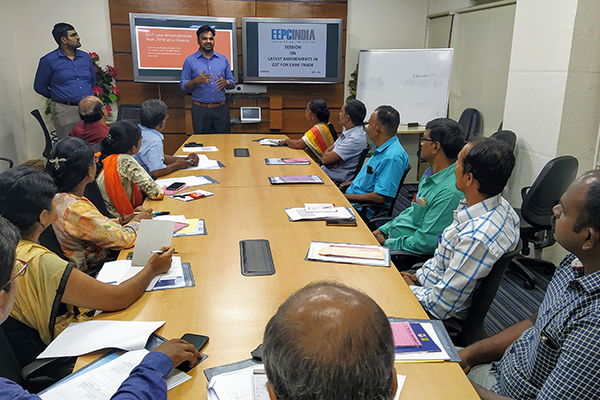 Mr. D Vinod Kumar, Assistant Director, EEPC India welcoming the participants to the meeting