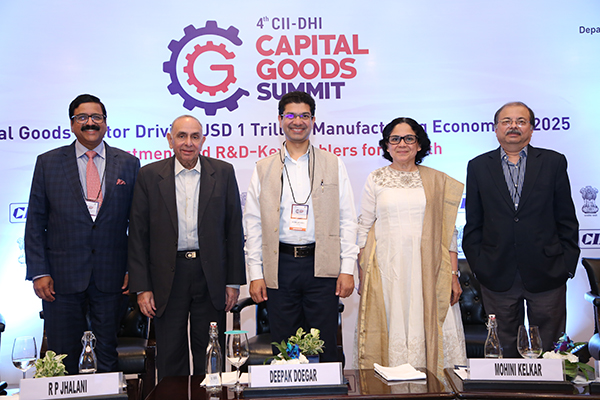 "Mr. R.P. Jhalani, Former Chairman, EEPC India (2nd from left) was a Panelist during the session on ""Creating Brand India in exports"".  Other panelists are, Mr Ramakrishnan Ramamurthi, CEO, Polycab India Ltd (extreme left); Mr Deepak Doegar, Executive Vice President, JCB India (centre); Mrs Mohini Kelkar, Director – BD, Grind Master Machines Pvt Ltd (2nd from right); and Mr. Anupam Kaul, Principal & Head (Quality, Metrology & Standards), CII (extreme right)."