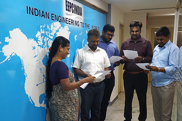 EEPC India, RO, Chennai employees reading Preamble of The Constitution of India at their office