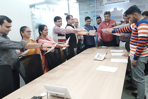 EEPC India, RO, New Delhi employees reading Preamble of The Constitution of India at their office