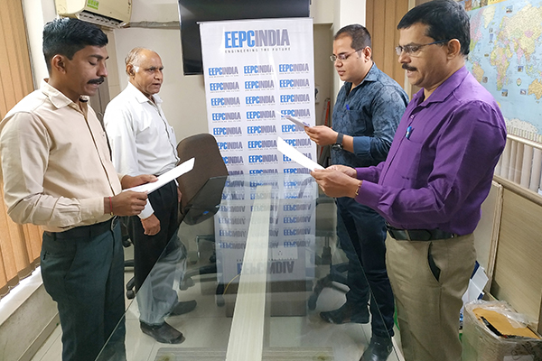 EEPC India, SRO, Ahmedabad employees reading Preamble of The Constitution of India at their office