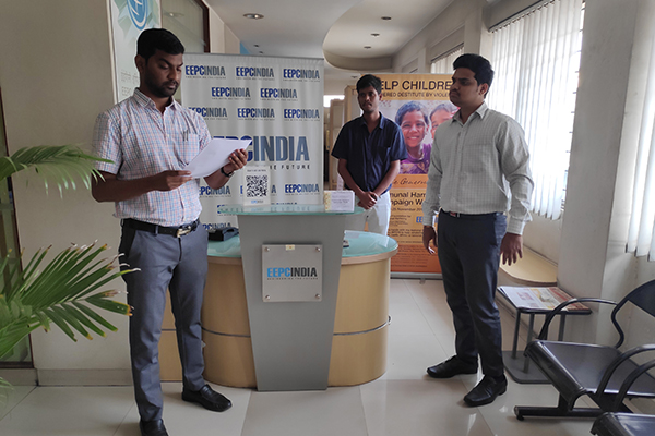 EEPC India, SRO, Hyderabad employees reading Preamble of The Constitution of India at their office