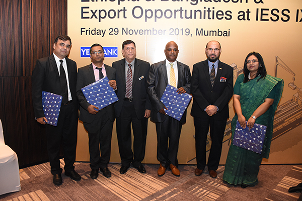 Dignitaries present with EEPC mementoes- The Chief Guest,  Mr. Demeke Atnafu Ambulo, Consulate General of Ethiopia in Mumbai (3rd from right); Ms. Nafisa Monsur, First Secretary and HOC, Deputy High Commission of Bangladesh in Mumbai (first from right); Mr. Kiran Prasad Susarla, Senior President- Transaction Banking and Services, YES BANK (extreme left). Mr. Ravi Sehgal, Chairman, EEPC India (2nd from right) and Mr. K. L. Dhingra, Regional Chairman (WR), EEPC India (3rd from left) are also present.