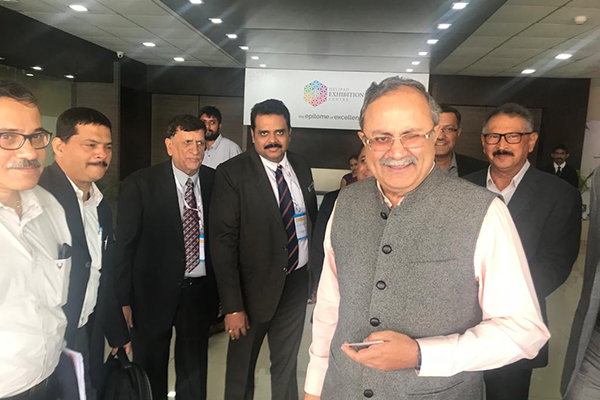 Mr K L Dhingra, Regional Chairman (WR), EEPC India (3rd from left) and Dr Rajat Srivastava, Regional Director (WR) & Director (Marketing & Sales), EEPC India  (4th from left) is meeting with Mr Saurabh Patel, Hon`ble Minister of Energy of Gujarat (Front right) at the event. Mr Sudhakaran Nair, Dy Director, EEPC India, SRO Ahmedabad (2nd from left) is also seen