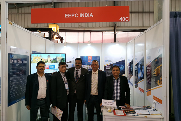 Mr K L Dhingra, Regional Chairman (WR), EEPC India (2nd from left); Dr Rajat Srivastava, Regional Director (WR) & Director (Marketing & Sales) (3rd from left) and Mr Sudhakaran Nair, Dy Director, EEPC India, SRO Ahmedabad (extreme left) are present in the EEPC India booth along with other dignitaries.