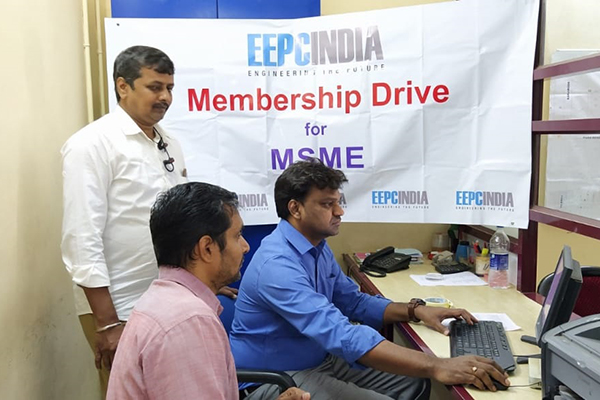 MSME Membership Drive carried by Mr. D. Vinod Kumar, Asstt. Director, EEPC India (RO), Chennai at Kanjikode Industries Forum where Mr. V. Anandan, Sr. Assistant, EEPC India (RO), Chennai and a member is seen.