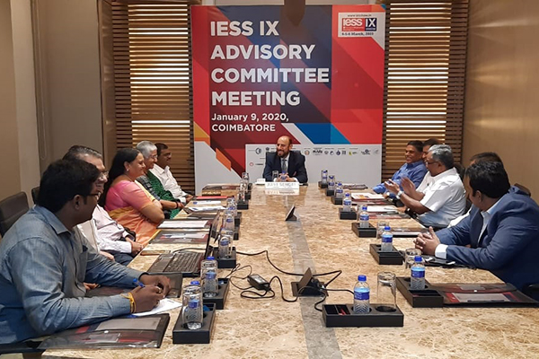 EEPC India Chairman, Mr. Ravi Sehgal (on the head table) is discussing in a meeting to plan the event with the members of IESS IX Advisory Committee. Mr. K. S. Mani, Regional Chairman (SR), EEPC India; Mr. C H Nadiger, Regional Director (SR) and Dr Rajat Srivastava, Regional Director (WR) and Director (Marketing & Sales), EEPC India are also present among others.