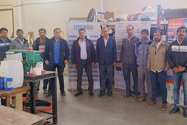 Mr S Nair, Dy Director along with officials of Ashutosh Power TransBelts Ltd at the factory premises.