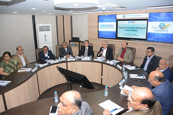 Mr B D Agarwal, Regional Chairman (ER), EEPC India giving welcome address. On his left, Mr Ravi Sehgal, Chairman, EEPC India; Mr Mayank Kejriwal, Member of the Regional Committee (ER), EEPC India; Mr G D Shah, Former Chairman, EEPC India; Mr G K Madhogaria, Dy. Regional Chairman (ER), EEPC India and on his right Mr Arun Kumar Garodia, Vice Chairman, EEPC India; Mr P K Shah, Former Chairman, EEPC India; Mr Rakesh Shah, Former Chairman, EEPC India; Mr Adhip Mitra, Additional Executive Director & Secretary, EEPC India & Mrs Anima Pandey, Regional Director (ER) & Director (Membership), EEPC India.