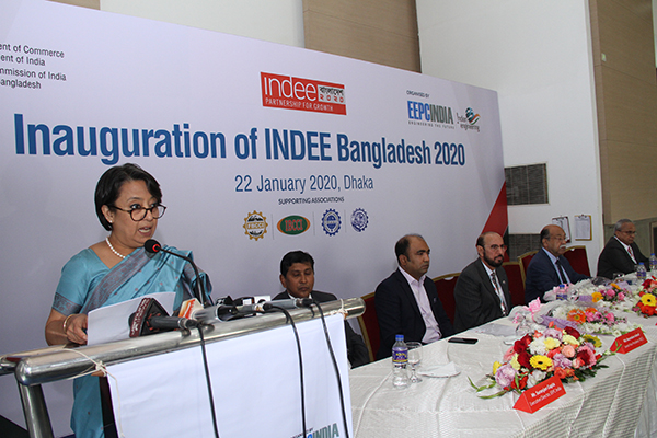 H. E. Ms Riva Ganguly Das, High Commissioner of India at Dhaka, Bangladesh at the podium and on the dais from left  Mr. Suranjan Gupta, Executive Director, EEPC India; Md. Muntakin Ashraf, Sr. Vice President, FBCCI (The Federation of Bangladesh Chambers of Commerce and Industry ); Mr Ravi Sehgal, Chairman, EEPC India;Chief Guest,  H. E. Mr Nurul Majid Mahmud Humayun, Hon'ble Minister of Industries, Government of Bangladesh and  Mr Mahesh K Desai, Sr Vice Chairman, EEPC India