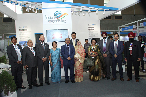 At the EEPC India Theme Pavilion - Post Inauguration, the Chief Guest, H. E. Mr Nurul Majid Mahmud Humayun, Hon'ble Minister of Industries, Government of Bangladesh (5th from left), To his right - H. E. Ms Riva Ganguly Das, High Commissioner of India at Dhaka, Bangladesh; Mr Ravi Sehgal, Chairman, EEPC India; Mr Mahesh K Desai, Sr Vice Chairman, EEPC India and  Mr. Suranjan Gupta, Executive Director, EEPC India. 2nd from Right - Mr Debasis Chakraborty, Sr Assistant Director, EEPC India; Mr Gurvinder Singh, Director (Exhibitions), EEPC India and Ms Pallavi Saha, Sr Deputy Director, EEPC India along with Indian exhibitors.