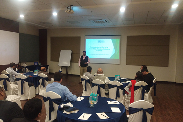 Mr Mishir Shah, Consultant  is giving presentation before the participants.
