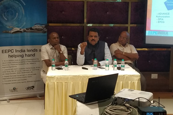 Speakers from Left, Mr. Rao, FTDO (Foreign Trade Development Officer) from DGFT Mumbai, Dr.Rajat Srivastava, Regional Director (WR) and Director (Marketing & Sales), EEPC India and Mr. Umesh Tayade, Chairman of Additional Ambernath Manufacturers` Association.