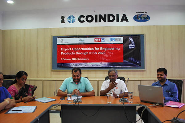 Mr. S Chandrasekar, Convenor, Coimbatore Chapter, EEPC India addressing the participants