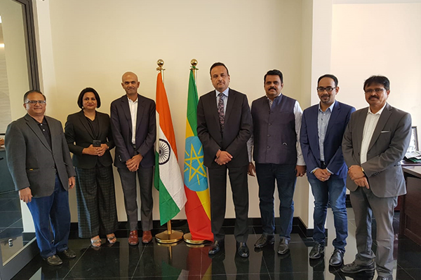 Meeting at Embassy of  India in Ethiopia  where Mr. S. Hari Shankar, Chairman, India ITME Society ((3rd from left) and (to his left) H.E. Mr. Anurag Srivastava, Ambassador of India to the Federal Democratic Republic of Ethiopia are seen with  Dr. Rajat Srivastava, Regional Director (WR) & Director (Marketing & Sales) (3rd from right) and (to his left) Mr. Sunny Bose, Deputy Director, EEPC India along with other dignitaries.