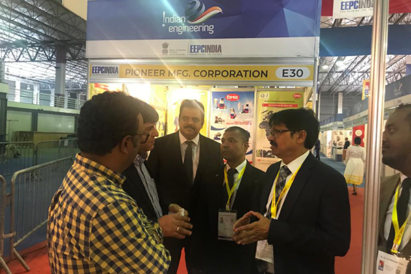 Mr Gurbachan Singh, Second Secretary (Commerce), Indian Embassy to Ethiopia taking a tour of the Indian Engineering Pavilion . Dr Rajat Srivastava, Regional Director ( WR) & Director (Marketing & Sales), EEPC India is also present in Image 24