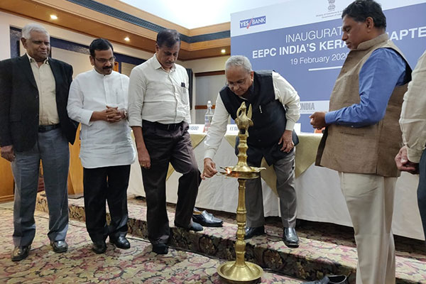 EEPC India`s  Sr Vice Chairman, Mr. Mahesh K Desai lighting the Kuthuvilakku at the inauguration ceremony of Kerala Chapter. The dignitaries present on his right (from left) are Mr. K.K.M. Kutty, Regional Committee Member, EEPC India (SR); Mr. V. Revindran, Dy Convenor, EEPC India Kerala Chapter; Mr. Vijayan Menokey, Convenor, EEPC India Kerala Chapter and on his left, Mr. K. S. Mani, Regional Chairman, EEPC India (SR).