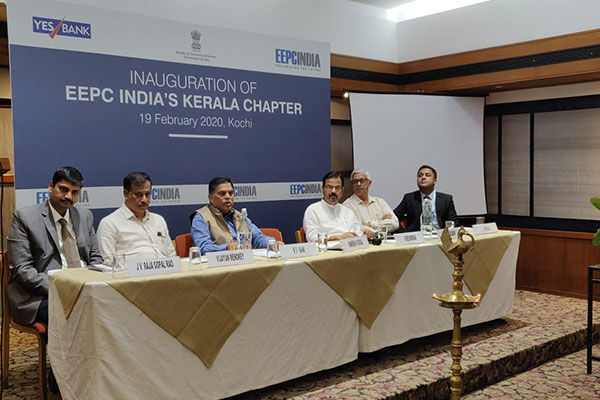 Dignitaries on the dais (L-R) - Mr. J V Rajagopal Rao, Sr Deputy Director, EEPC India, Bengaluru; Mr. Vijayan Menokey, Convenor, EEPC India Kerala Chapter;  Mr. K. S. Mani, Regional Chairman, EEPC India (SR); Mr. V. Revindran, Dy Convenor, EEPC India Kerala Chapter; Mr. Gopa Kumar; and Mr Cherian J. from YES Bank.