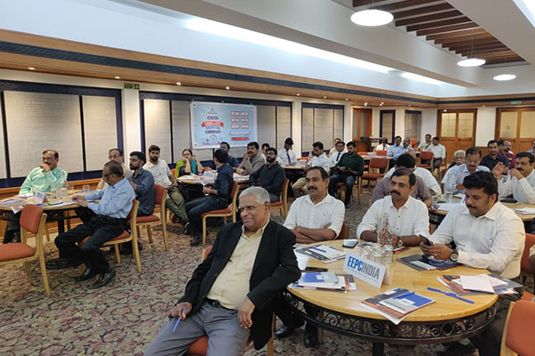 Session in progress where Mr. K.K.M. Kutty, Regional Committee Member, EEPC India (SR) is seen at the front row.