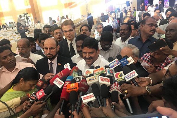 Press Meet by Mr. M.C. Sampath, Minister for Industries, Steel Control, Mines and Minerals and Special Initiatives, Govt. of Tamil Nadu. Mr. P. Benjamin, Minister for Rural Industries including Cottage Industries, Small Industries, Govt. of Tamil Nadu and Mr. Ravi Sehgal, Chairman, EEPC India are also present.