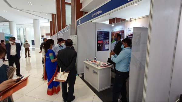 Mr. Kaushik Bhattacharjee, Sr. Executive Officer, EEPC India interacting with some visitors at EEPC India Booth in Kolkata.